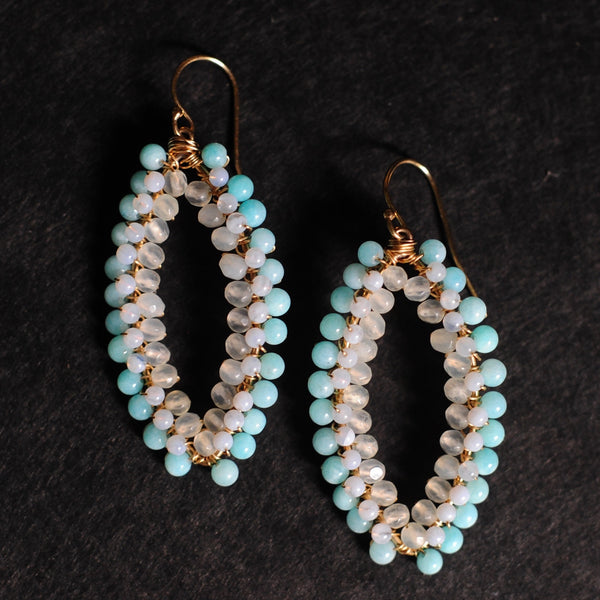 Large Marquise Earrings in Amazonite + Chalcedony + Serpentine
