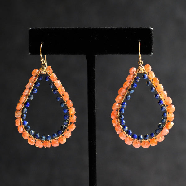 Large Tear Earrings in Sunstone + Lapis