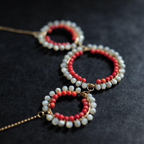 Triple Hoop Necklace in Mother of Pearl + Coral