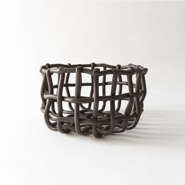 Ceramic Woven Basket in Black, Medium