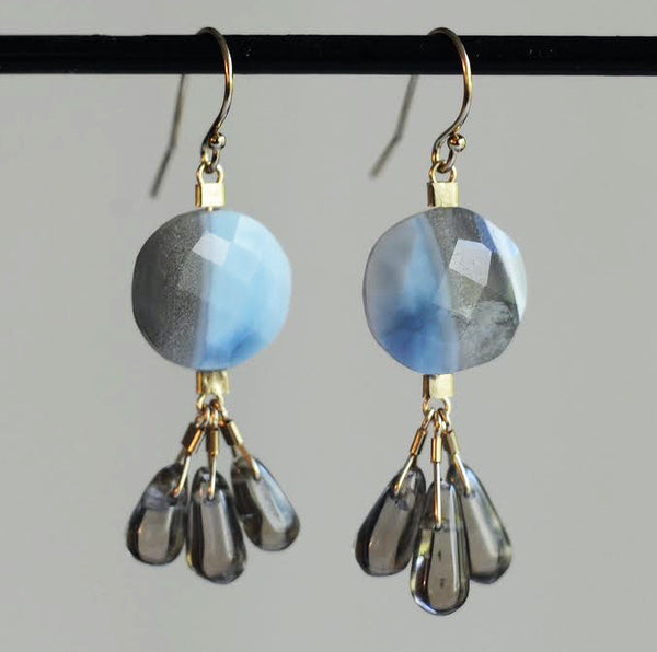 Drop Earrings in Blue Opal + Smoky Quartz