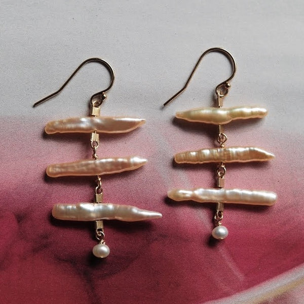 Drop Earrings in Blush Biwa Pearls