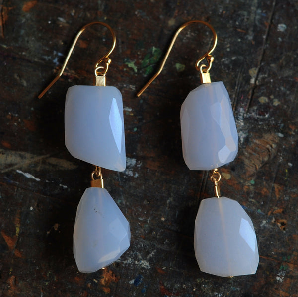 Drop Earrings in Chalcedony