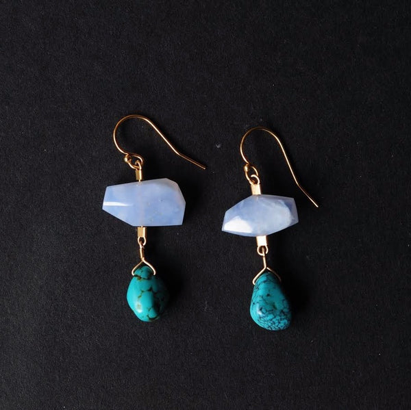 Drop Earrings in Chalcedony + Turquoise
