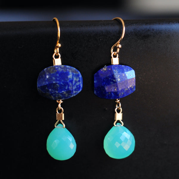 Drop Earrings in Lapis + Chrysoprase