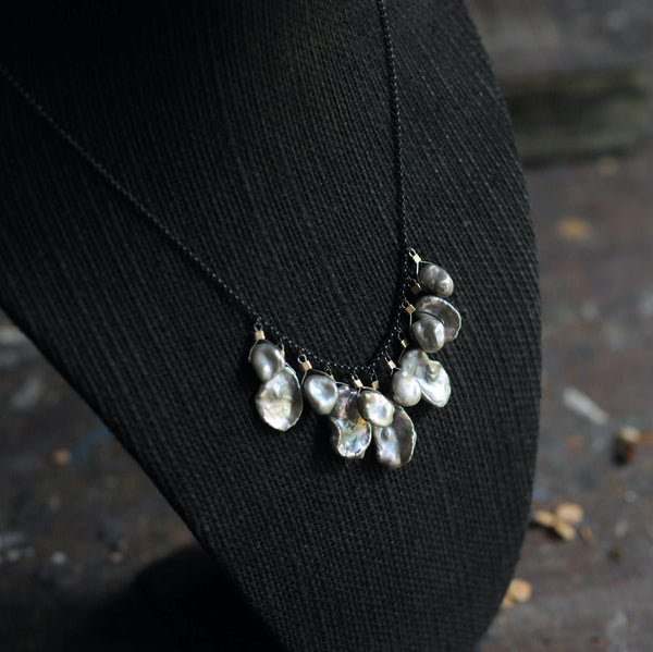 Drop Necklace in Silver Keshi Pearls
