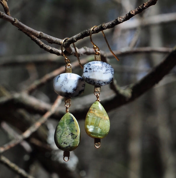 Drop Earrings in Dendritic + Green Opal