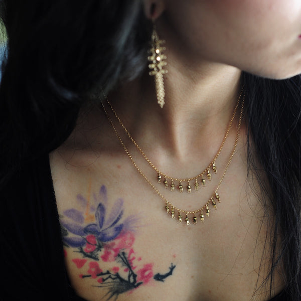Drop Necklace in Gold + Brass