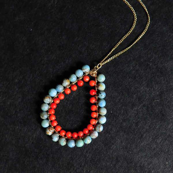Large Tear Necklace in Blue Opal + Coral