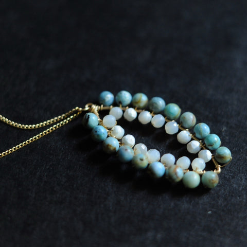 Small Marquise Necklace in Blue Opal + Mother of Pearl