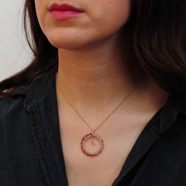 Small Hoop Necklace in Spinel & Peach Moonstone