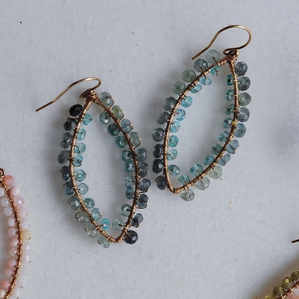 Small Marquise Earrings in Moos Aquamarine + Apatite