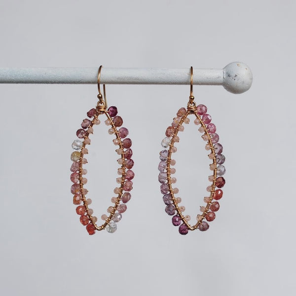 Small Marquise Earrings in Spinel + Peach Moonstone