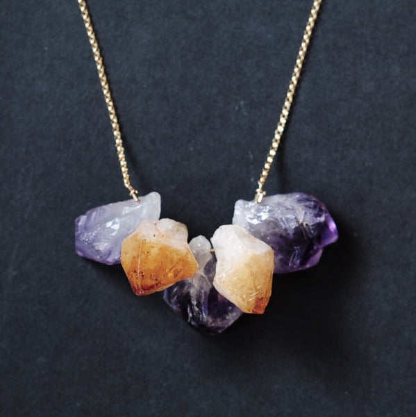 Strand Necklace in Amethyst + Citrine Points