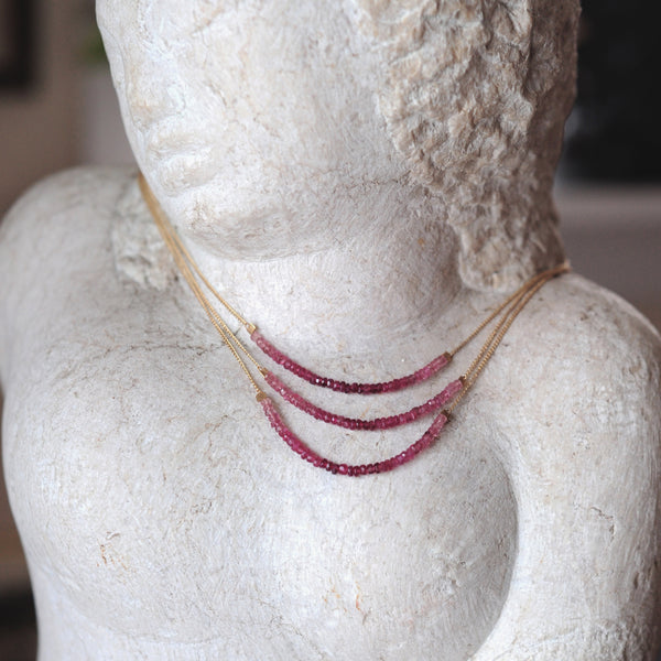 Strand Necklace in Ombre Pink Tourmaline
