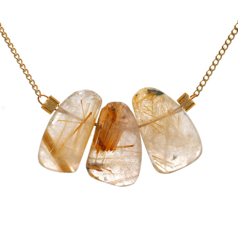 Strand Necklace in Rutilated Quartz