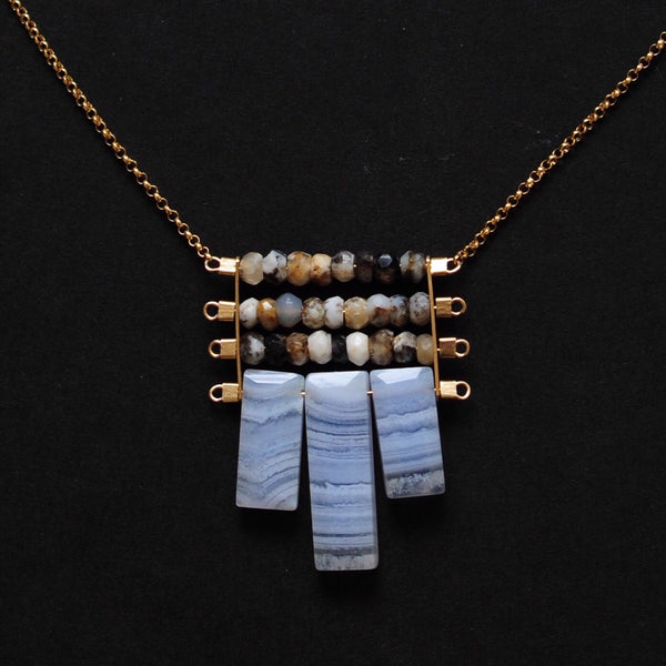 Tapestry Necklace in Dendritic Opal + Lace Agate