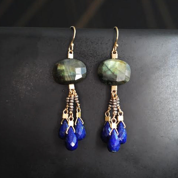 Inanna Earrings in Labradorite + Lapis