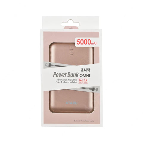 Ataru Omni Power Bank 5000 Mah - Rose Gold