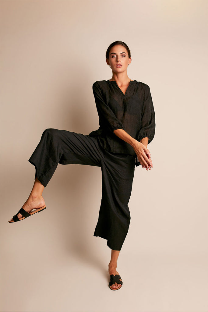 In the Sac - Wide Linen Pant Black