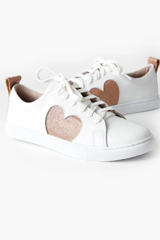 Walnut Heart Sneakers Rose Glitter
