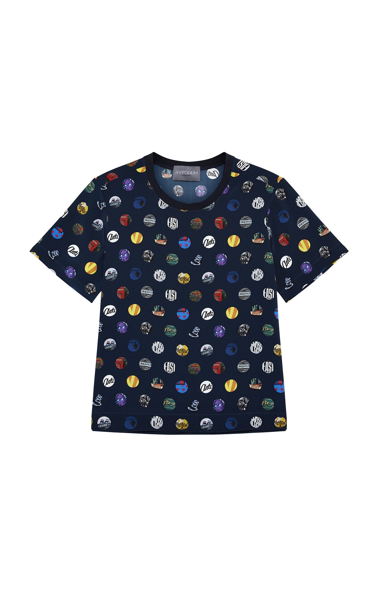 Antipodium Navy Hackney Spot Silk T-Shirt