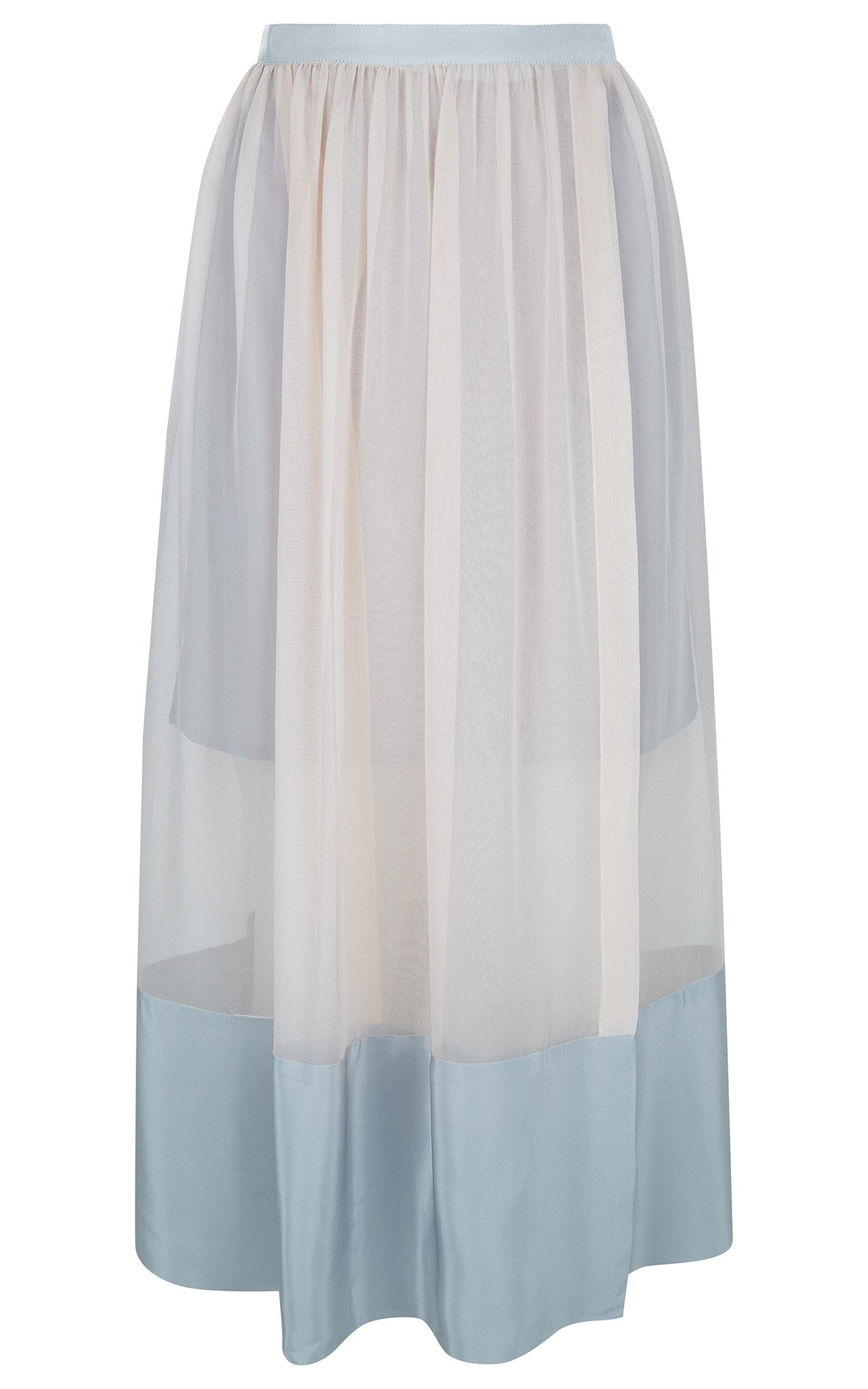 Antipodium Silk Long Gather Skirt in Blush/Silver Front