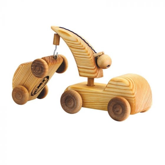 Wooden Toy Tow Truck w/ Mini Car (Small)