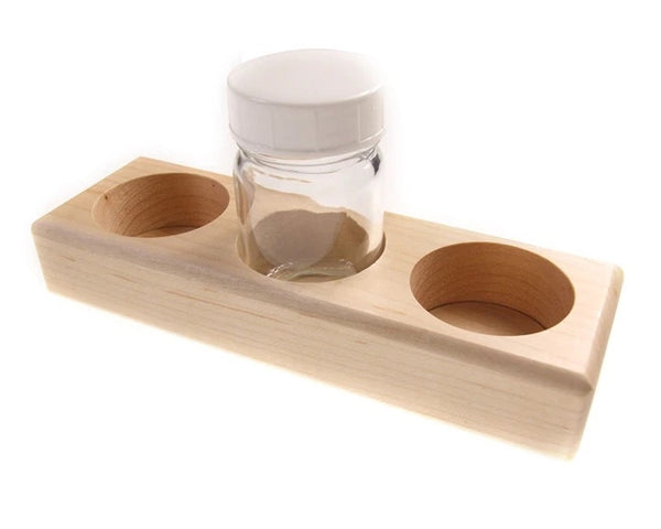 Wooden Holder for 3 Paint Jars w/ Lids