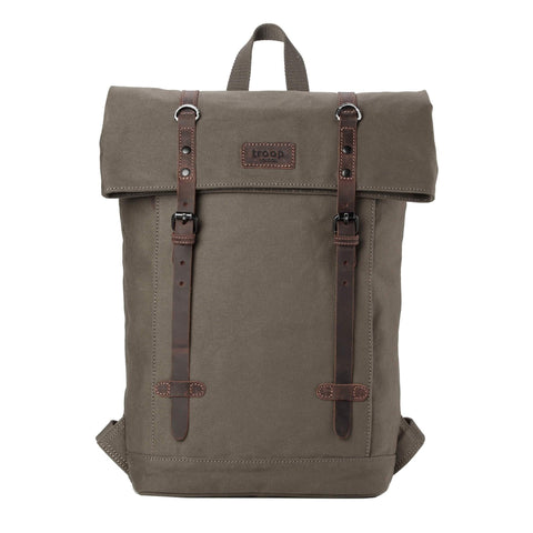 "TRP0425 Troop London Heritage Canvas 15"" Laptop Backpack, Smart Casual Daypack with Foldable Top - Troop London"