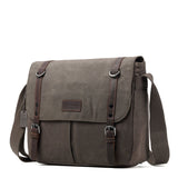 TRP0426 Troop London Heritage Canvas Messenger Bag, Canvas Satchel, Tablet Friendly Shoulder Bag - Troop London