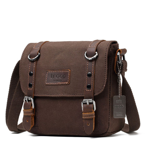 TRP0428 Troop London Heritage Canvas Shoulder Bag, Across Body Bag, Smart Small Travel Bag - Troop London