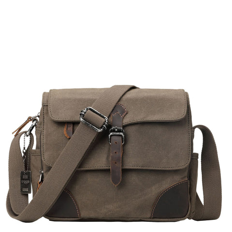 TRP0436 Troop London Heritage Canvas Medium Messenger Bag, Smart Travel Bag, Tablet Friendly