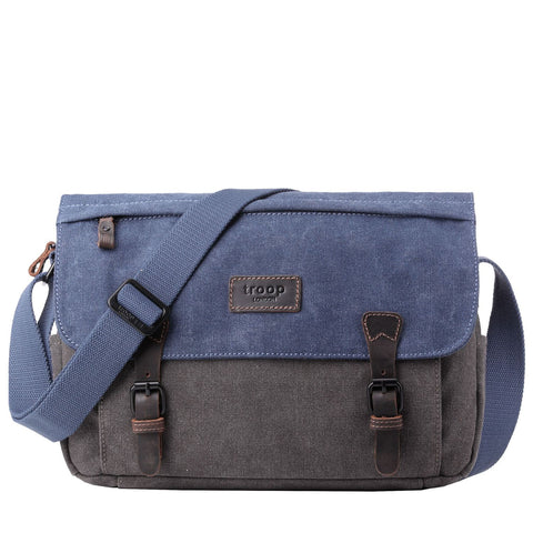 TRP0463 Troop London Heritage Waxed Canvas Messenger Bag, Smart Travel Bag Tablet Friendly