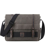 TRP0476 Troop London Heritage Waxed Canvas Laptop Messenger Bag, Canvas Bag for Travel and Work