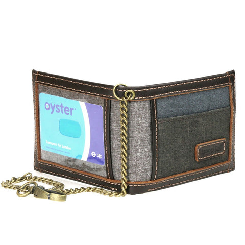 TRP0401 Troop London Urban Security Travel Wallet Bi-fold with Chain and ID Card Window - Troop London