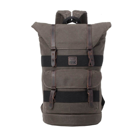 TRP0474 Troop London Heritage Waxed Fold Top Laptop Backpack,, Canvas Bag for Travel and Hiking
