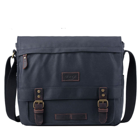 TRP0494 Troop London Heritage Laptop Messenger Canvas Bag for Travel and Work