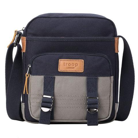 TRP0496 Troop London Heritage Canvas Across Body Bag, Tablet Friendly, Shoulder Bag - Troop London