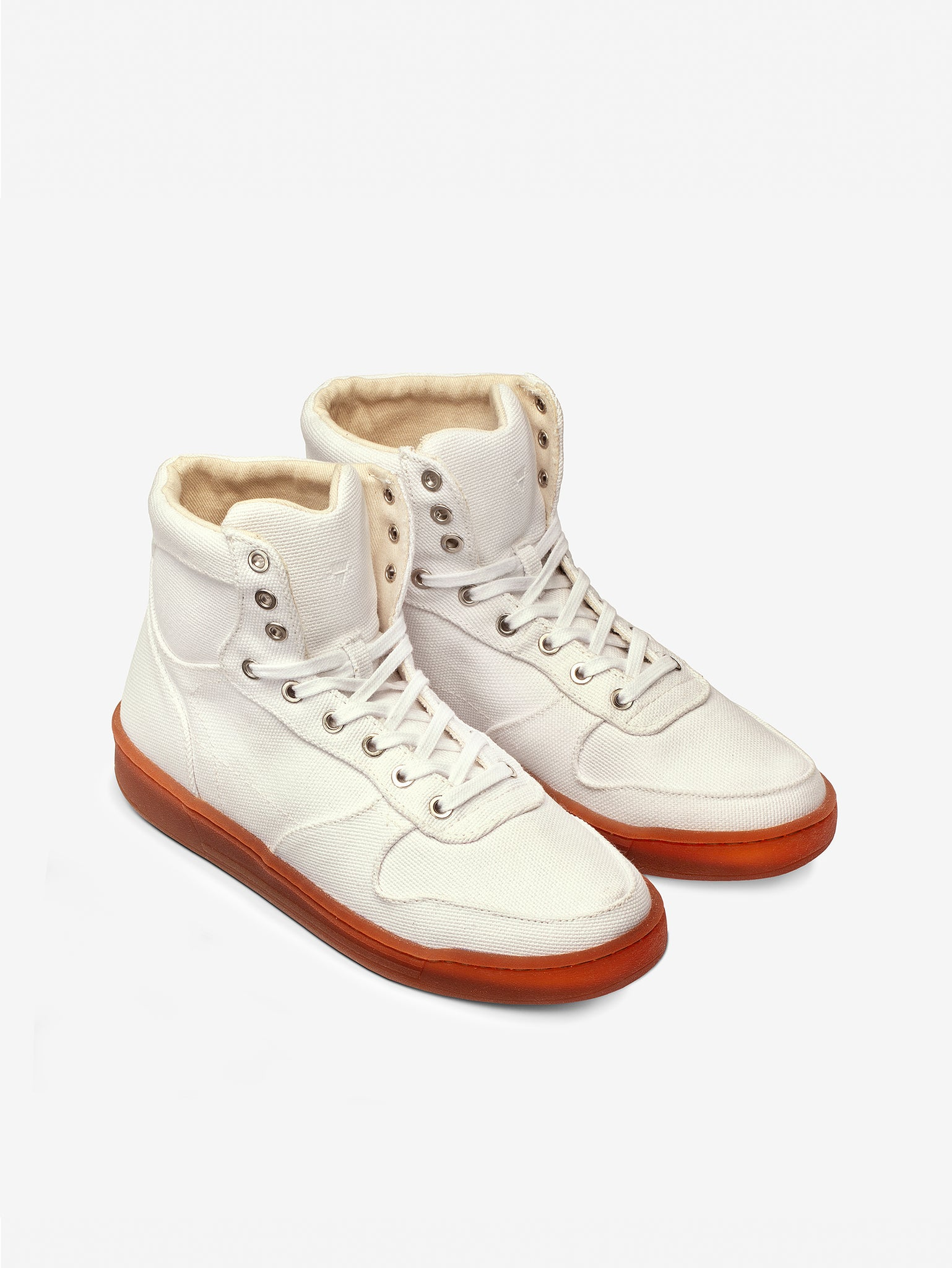 White plastic-free Vegan high top organic canvas pair