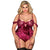 Stunning Off-the-shoulder Red Plus Size Velvet Bodysuit with Garter Detail