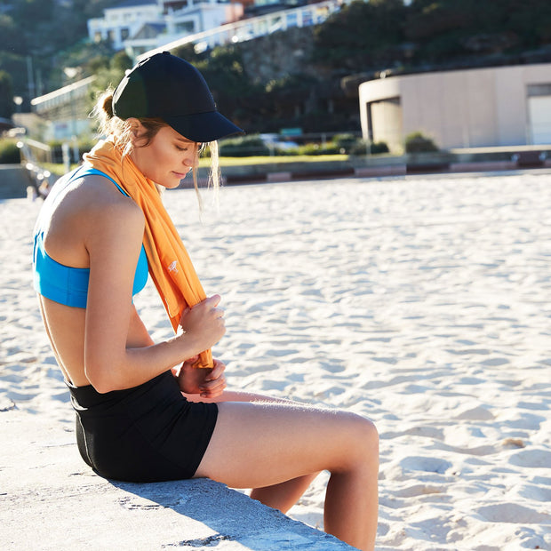 fast drying orange towel for gym and exercise