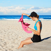 pink travel towel for exercise and fitness