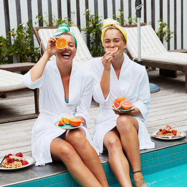 Hands free fast hair drying in robes whilst enjoying fruit and breakfast