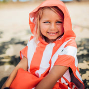 red wearable towel with hood for kids