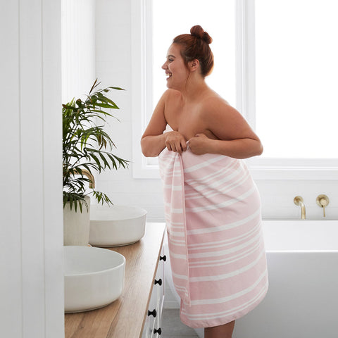 pink quick dry thick microfibre home towel