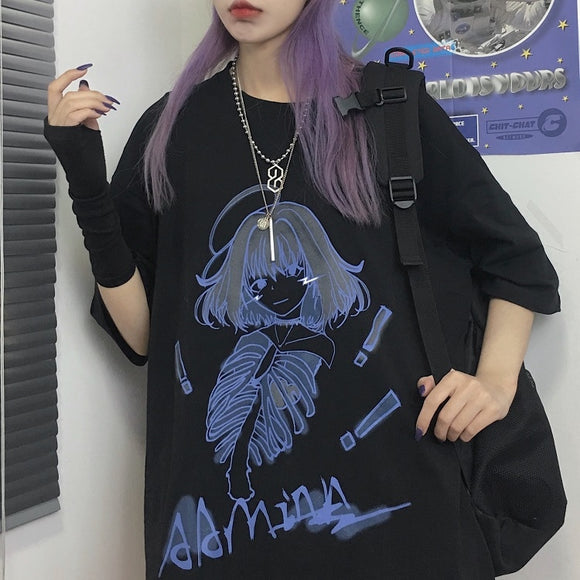 Ominous Korean Graphic T-shirt