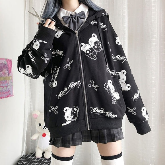 Curious Korean Long Sleeve Goth Hoodie