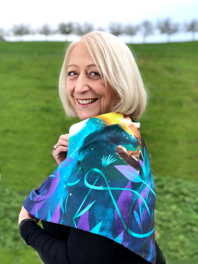 Celebrate Friendship - *Square* Designer Scarf (100% Silk Twill, 25 x 25 in)