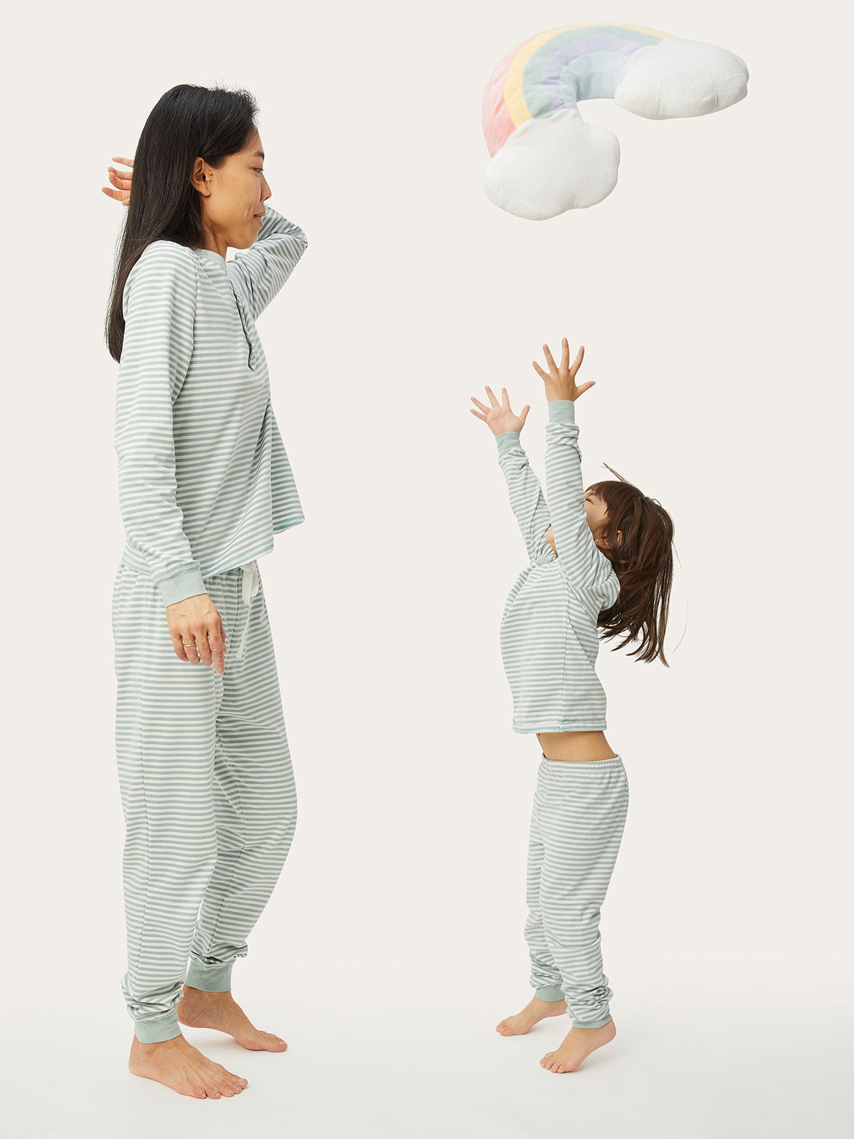 Lulu PJ Set in Sage Stripe By Morgan Lane